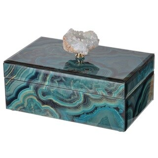 A&B Home Bethany Blue Wood Marbled Decorative Box