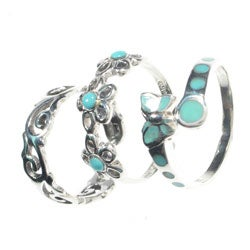 Tressa Sterling Silver Turquoise Toe Ring Set