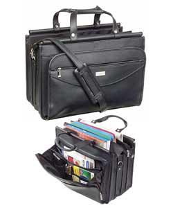 Solo Black Vinyl Triple-gusset Briefcase