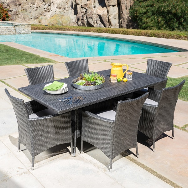 Malta Outdoor 7-piece Rectangle Wicker Dining Set with Cushions by Christopher Knight Home -  296507