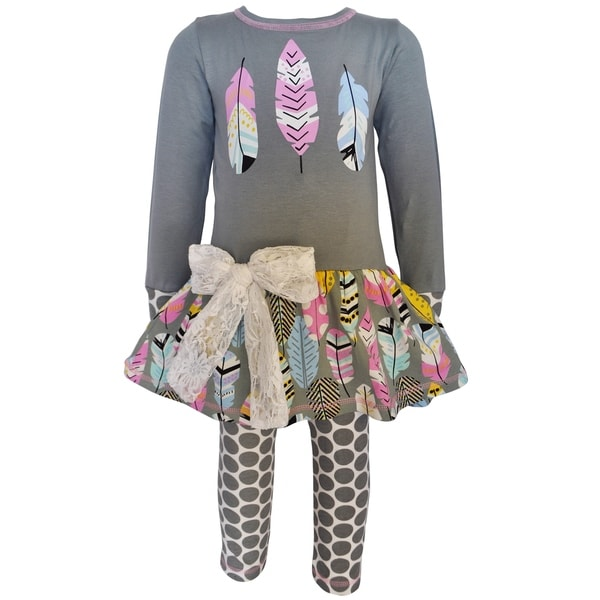 AnnLoren Girls Boutique Feathers Tunic & Polka Dot Leggings 27943457