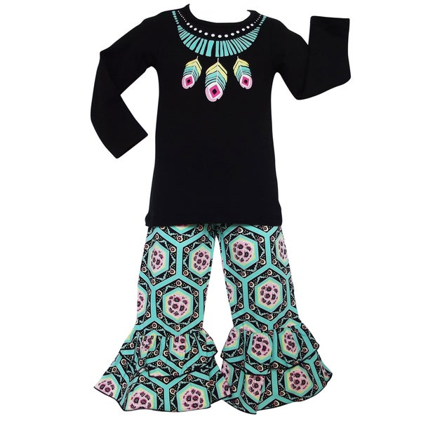 AnnLoren Girls Boutique Aztec Feather Geometric Floral Outfit 27943470