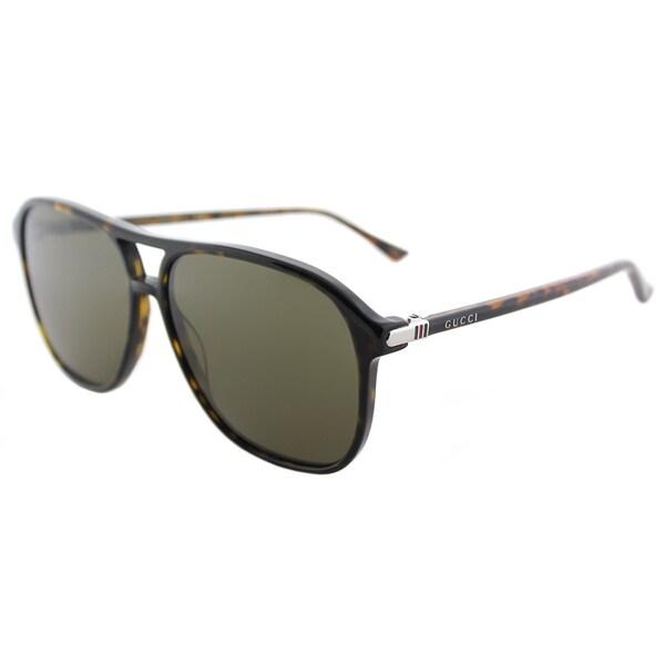 Gucci Unisex Shiny Dark Havana Square Frame Sunglasses with Brown Lenses -  GG_0016S_003