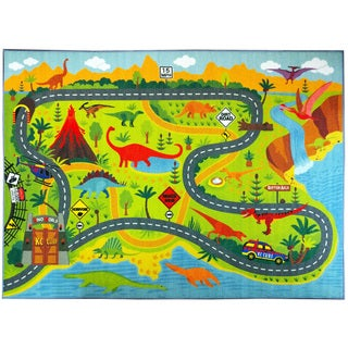 KC Cubs Dinosaur Safari Road Map Multicolor Educational Area Rug