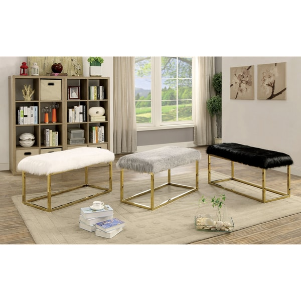 Furniture of America Tula Contemporary Champagne Fur-like Upholstered Large 40-inch Bench 27959086