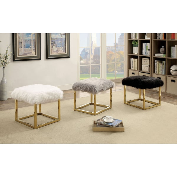 Furniture of America Tula Contemporary Champagne Fur-like Upholstered Small 21-inch Bench 27959091