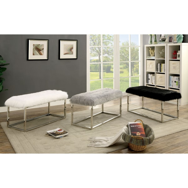 Furniture of America Shika Contemporary Chrome Fur-like Upholstered Large 40-inch Bench 27959096
