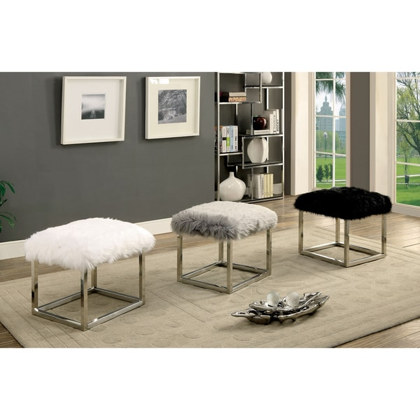 Furniture of America Shika Contemporary Chrome Fur-like Upholstered Small 21-inch Bench 27959101