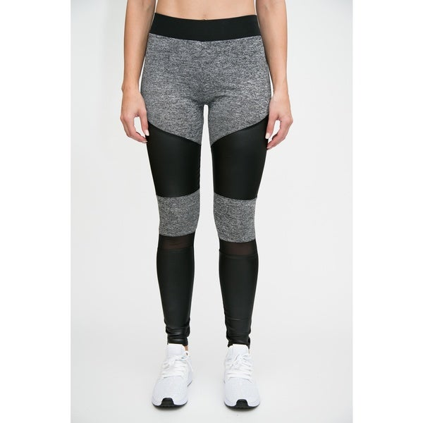 Active Leather Look Legging with Mesh Insert 27969490