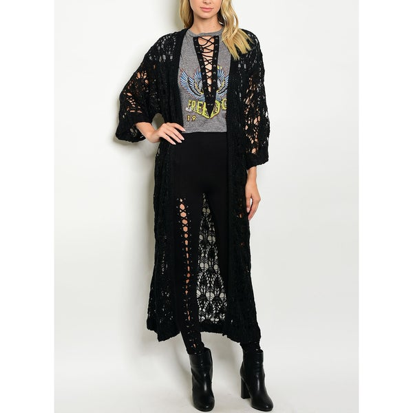 JED Women's Hand Knitted Chunky Black Maxi Cardigan 27969545