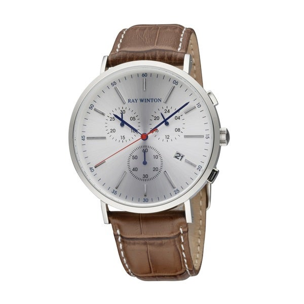 Ray Winton Men's WI0116 Date Chronograph Silver Dial Croc-Embossed Genuine Brown Leather Watch 27990094