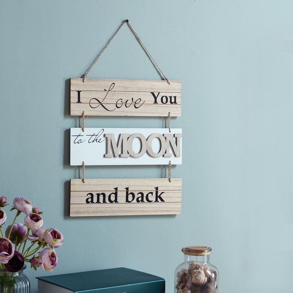 Danya B. 'I Love You to the Moon and Back' Sectioned Wooden Wall Plaque 27991812