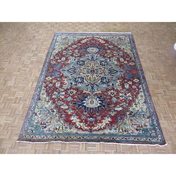 Hand-knotted Fine Serapi Heriz Red Wool Oriental Rug (8'10 x 11'9) 28012141