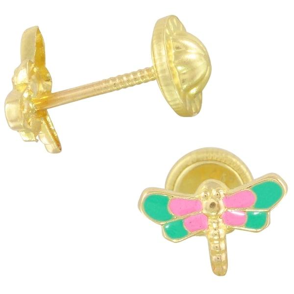 14k Yellow Gold Dragonfly Enamel  Earrings 28018821