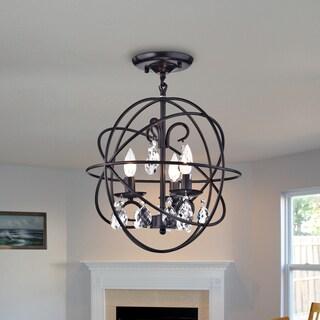 Balyard Black Metal/Crystal 16-Inch 3-light Globe Cage Pendant
