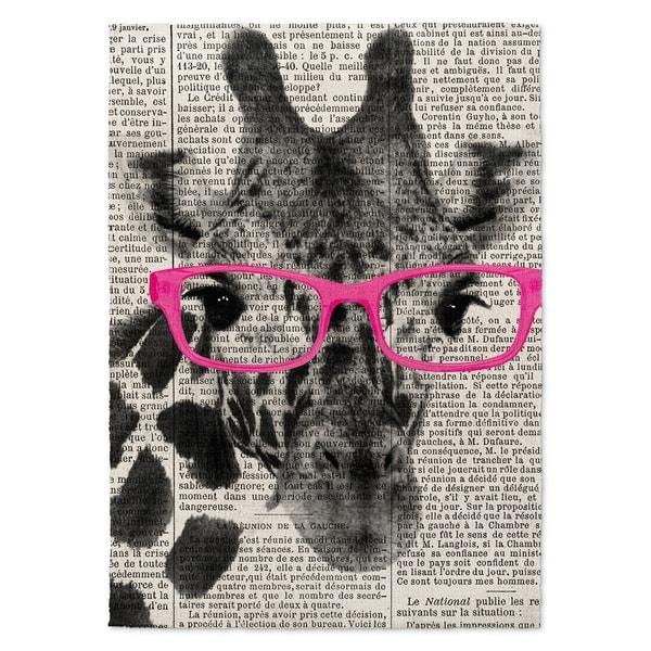 Kavka Designs Giraffe In Glasses Pink/ Black/ White Accent Rug (2' X 3') - 2' x 3'