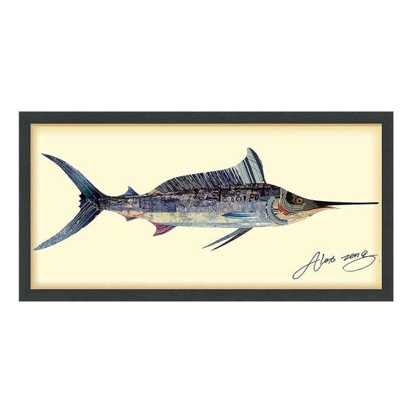 """Blue Marlin"" Dimensional Collage Framed Graphic Art Under Glass 28245932"