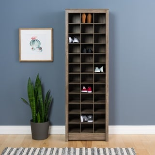 Porch & Den Girard Drifted Gray Space-Saving Shoe Storage Cabinet
