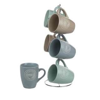 Home Basics 6 Piece Mug Set with Stand