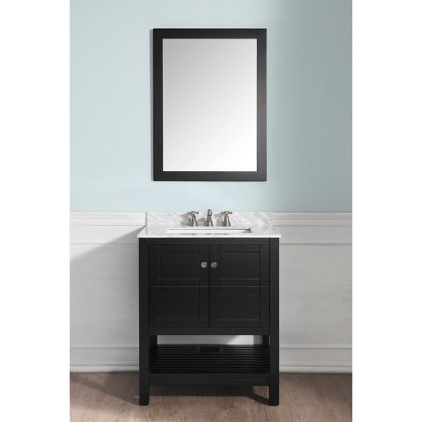 ANZZI Montaigne 30 in. Espresso Vanity Set with Top, Sink and Mirror 28259130