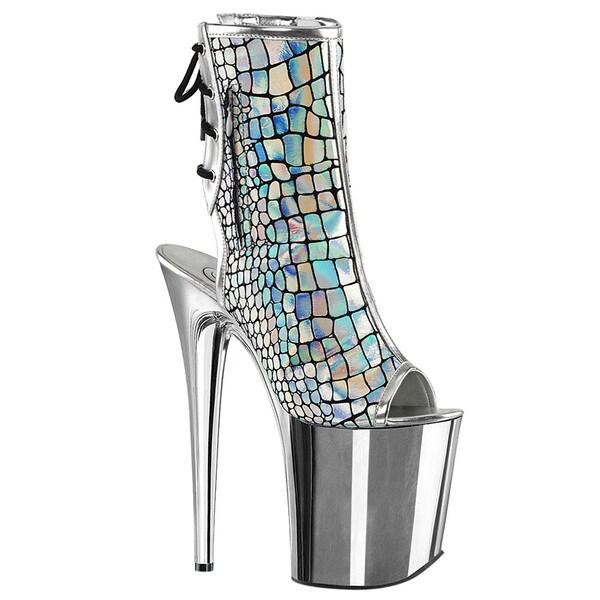 PLEASER FLAMINGO-1018HG Open Toe/Heel Side Zipper Lace Up Back Ankle Boots 28264838