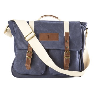 Personalized Navy Waxed Canvas and Leather Messenger Bag by Cathy ft s Concepts
