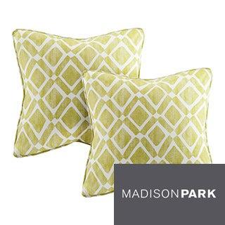 Madison Park Ella Printed Green 20-inch Pillows (Set of 2)