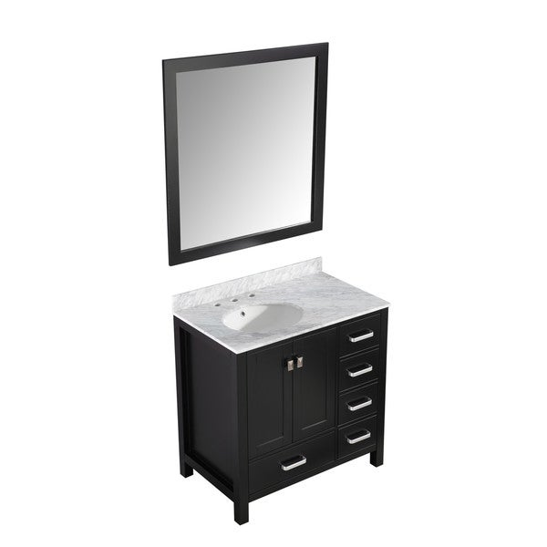 ANZZI Chateau 36 in. Vanity Set with Top, Sink, and Mirror - Espresso 28270381