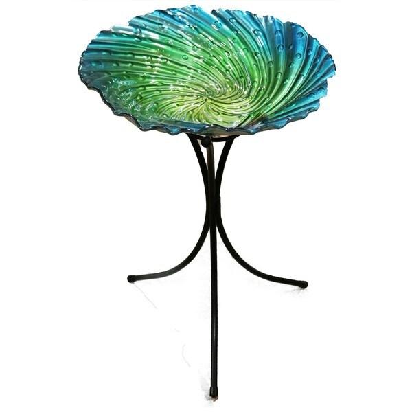 Alpine Corporation Blue Glass 26-inch Birdbath With Stand 28278983