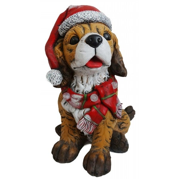 Alpine Corporation Santa Hat and Red Scarf Decor with 3 LED Timed Lights 28279187