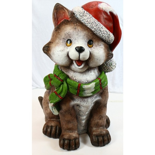 Alpine Corporation Cat Wearing Santa Hat and Green Scarf Decor with 3 LED Timed Lights 28279188
