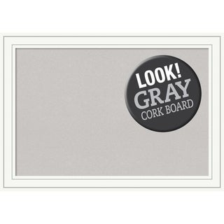 Framed Grey Cork Board, Craftsman White