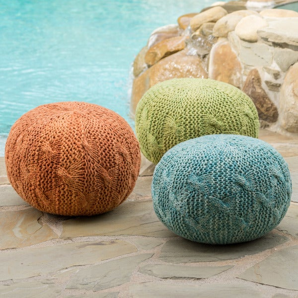 Deon Outdoor Round Weave Fabric Ottoman Pouf by Christopher Knight Home 28290351