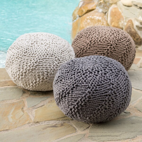 Hazel Outdoor Round Weave Fabric Ottoman Pouf by Christopher Knight Home 28290366