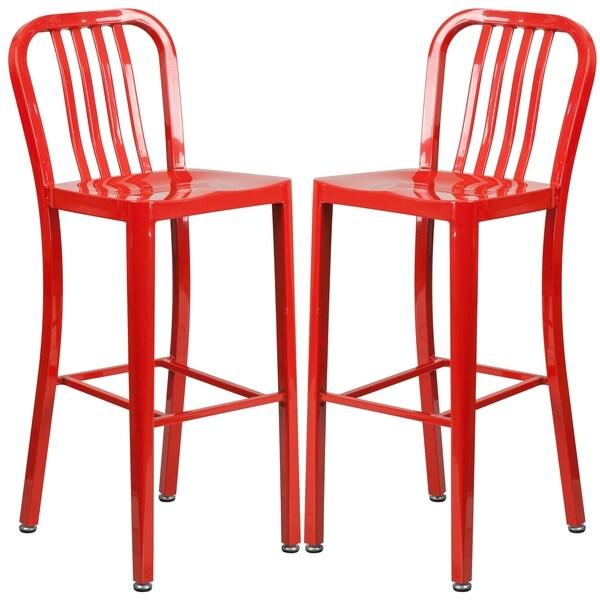Veronica Slatt Back Design Red Metal Barstools