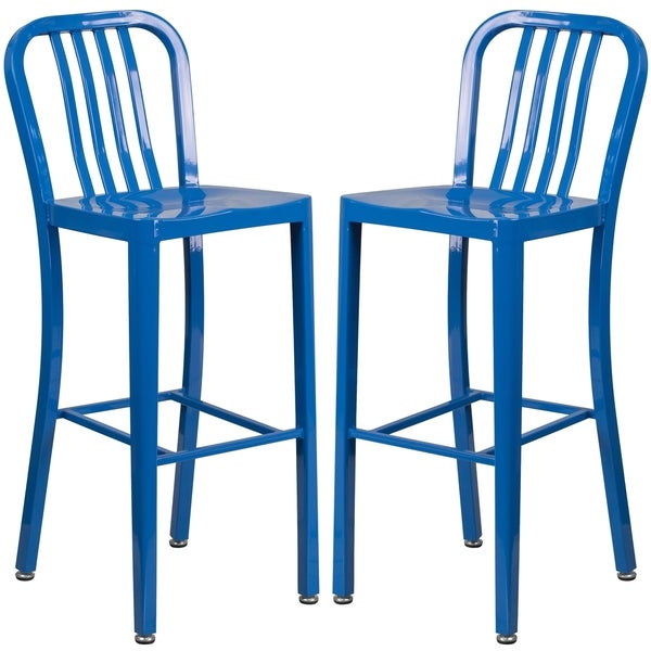 Veronica Slatt Back Design Blue Metal Barstools