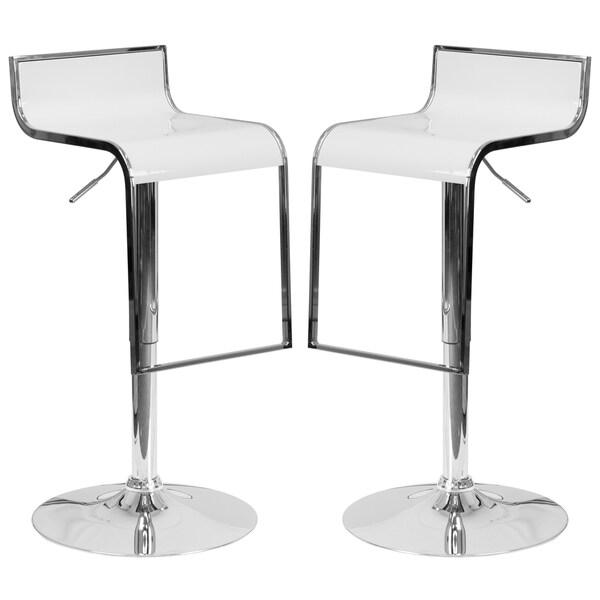 Groovy Design White Adjustable Swivel Barstools