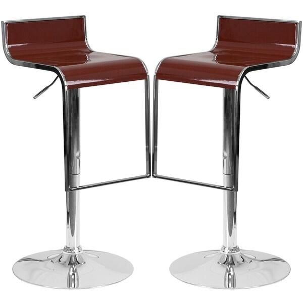 Groovy Design Burgandy Adjustable Swivel Barstools