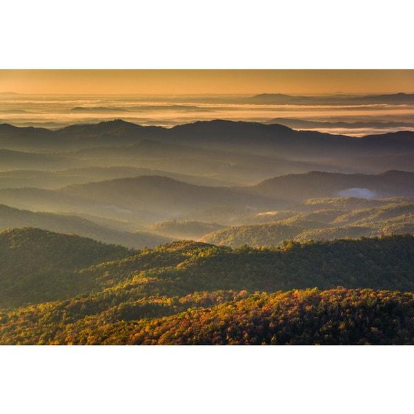 Noir Gallery Autumn Blue Ridge Mountains View in North Carolina Photo Print on Metal. 28320210