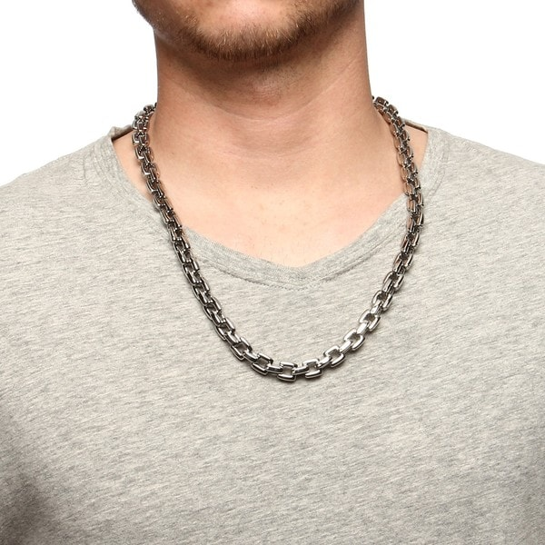 Stainless Steel Cable Link Mens Necklace