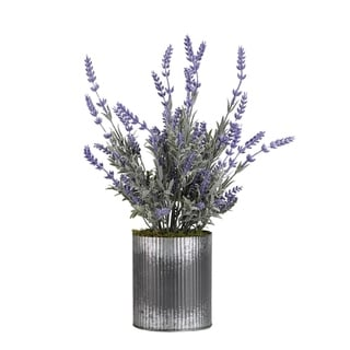 D&W Silks Lavender in Round Tin Planter