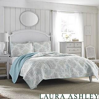 Laura Ashley Saltwater Blue Reversible 3-piece Cotton Quilt Set