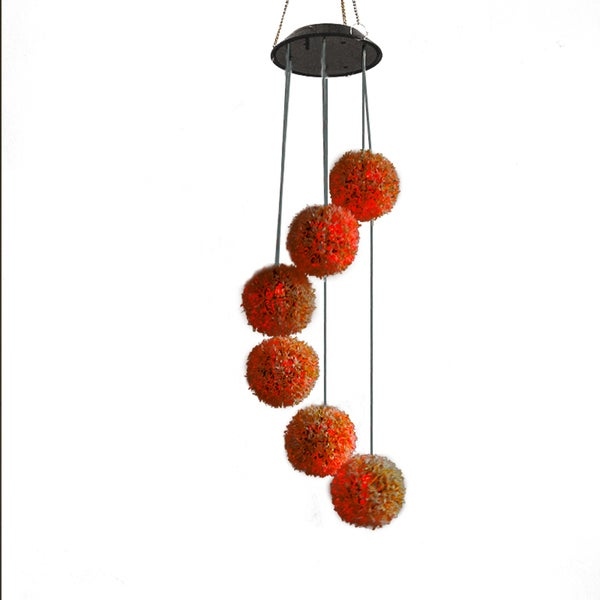 Changing Color Solar Power Light, Spiral Spinner Dandelion Shape Portable Outdoor Decorative Windbell Light 28355812