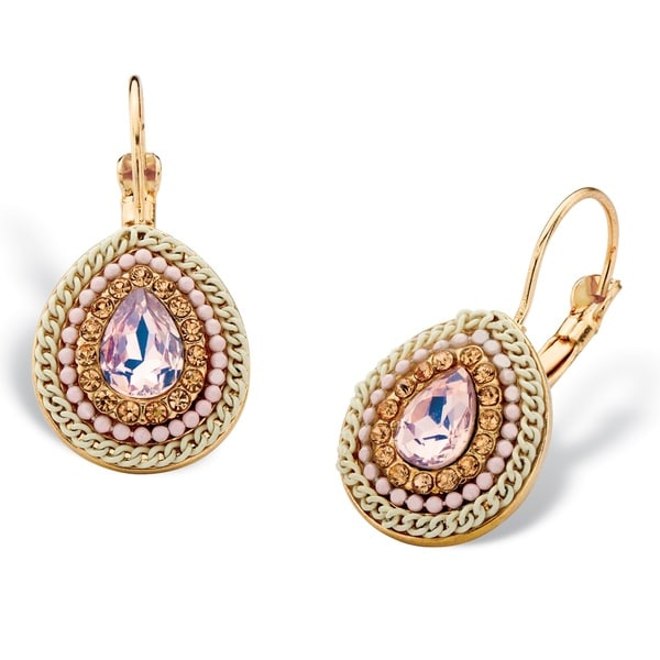 "Pear Drop Pink Crystal Bead And Rope Lever Back Halo Earrings .75"" Bold Fashi 28357150"