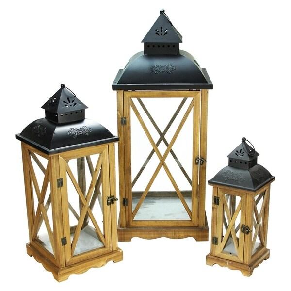 "Set of 3 Country Elegance Wooden Garden Style Glass Pillar Candle Lanterns 14.75"" - 27.75"" 28357238"