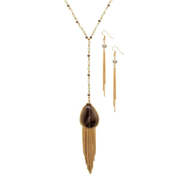"""Pear-Cut Grey Crystal Gold Tone 2-Piece Beaded Tassel """"Y"""" Necklace and Earrings Set 36""""-39"""" Bold Fashion 28357316"""