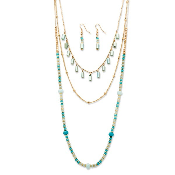 "Simulated Turquoise Gold Tone 2-Piece Multi-Strand Beaded Necklace and Earrings Set 32""-36"" Bold Fashion 28357317"