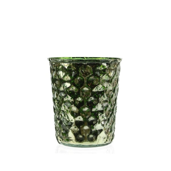 "Set of 4 Green and Silver Hammered Mercury Glass Decorative Votive Candle Holders 4"" 28357436"
