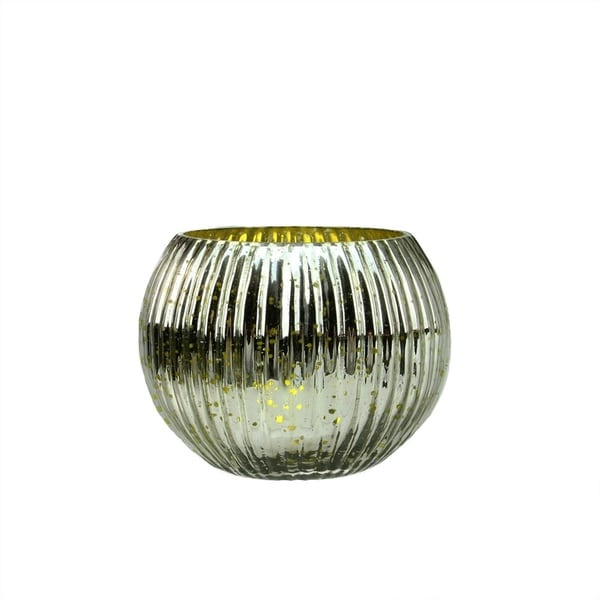 """Set of 4 Lime Green and Silver Ribbed Round Mercury Glass Decorative Votive Candle Holders 3.25"""" 28357439"""