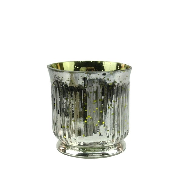 """Set of 4 Lime Green and Silver Ribbed Mercury Glass Decorative Votive Candle Holders 3.25"""" 28357444"""